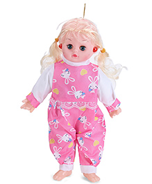 Smiles Creation Medium Size Musical Doll Stuffed Plush Soft Toy - Pink And White