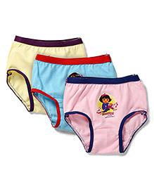 Dora Printed Panties Set of 3 - Peach Blue Yellow