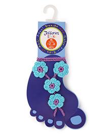 Jefferies Socks Floral Design Barefoot Sandals - Blue
