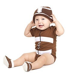 juDanzy Rugby Ball Print Onesie - Brown
