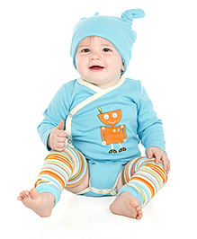 juDanzy Robot Print Full Sleeves Onesie - Blue