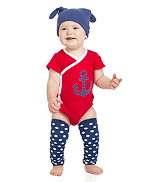 juDanzy Anchor Print Onesie - Red