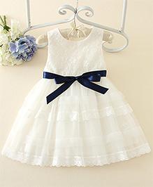 Peach Giirl Party Dress With Blue Sash  - White
