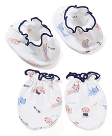 Babyhug All Over Printed One Pair Of Mittens & Booties Set - White & Navy Blue