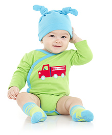 juDanzy Truck Print Full Sleeves Onesie - Green