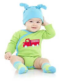 juDanzy Truck Print Full Sleeves Onesie - Green