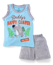 Babyhug Sleeveless Night Wear Vest And Shorts Daddy's Happy Camper Print - Aqua & Light Grey
