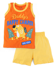 Babyhug Sleeveless T-Shirt And Shorts Happy Camper Print - Orange Yellow