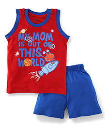 Babyhug Sleeveless T-Shirt And Shorts My Mom Print - Red And Royal Blue