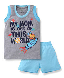 Babyhug Sleeveless T-Shirt And Shorts My Mom Print - Grey And Blue