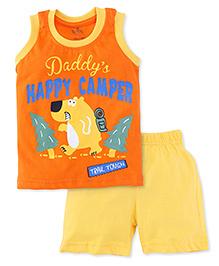 Babyhug Sleeveless Night Wear Vest And Shorts Daddy's Happy Camper Print - Orange & Yellow