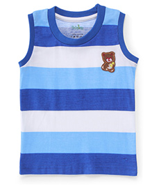 Babyhug Sleeveless T-Shirt Teddy Patch - Blue