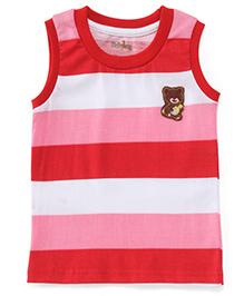 Babyhug Sleeveless T-Shirt Teddy Patch - Red