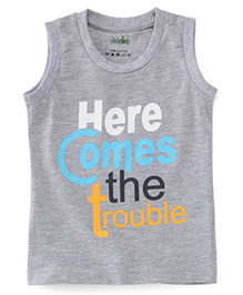 Babyhug Sleeveless T-Shirt Text Print - Grey