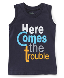 Babyhug Sleeveless T-Shirt Text Print - Navy