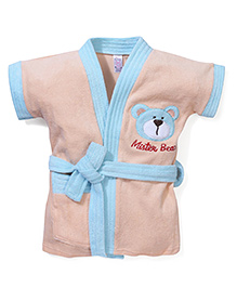 Pink Rabbit Half Sleeves Bathrobe Bear Embroidery - Peach & Light Cyan