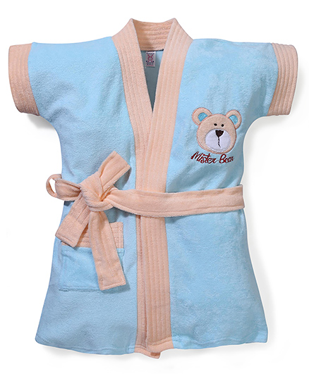 Pink Rabbit Half Sleeves Bathrobe Bear Embroidery  - Cyan Peach