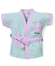 Pink Rabbit Bath Robe With Giraffe Patch - Light Green & Pink