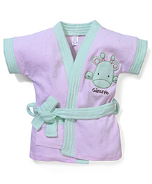 Pink Rabbit Bath Robe With Giraffe Patch - Light Pink & Mint Green