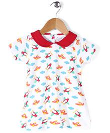 Babyhug Half Sleeves Peter Pan Collar Frock Plane Print - White & Red