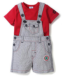 Mickey Pin Striped Dungaree With Solid Color Tee - Grey & Red