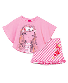 Mickey Umbrella Sleeves Top With Floral Applique & Skirt Set - Pink