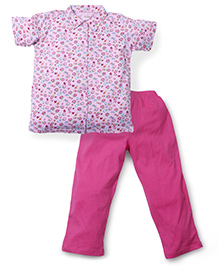 Babyhug Short Sleeves Night Suit Allover Floral Print - Pink