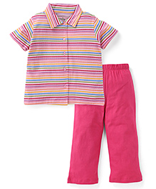 Babyhug Short Sleeves Stripe Shirt And Pajama - Dark Pink