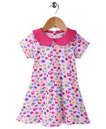 Babyhug Short Sleeves Frock Animal Print - White Pink