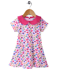 Babyhug Short Sleeves Frock Animal Print - White Pink