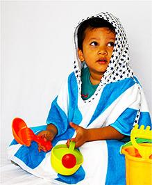 Kadam Baby Half Sleeves Hooded Bath Poncho - Blue White