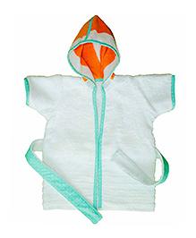 Kadambaby Short Sleeves Hooded Bathrobe - Orange White