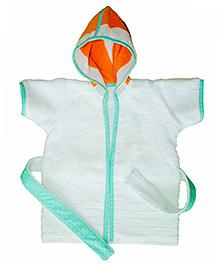 Kadambaby Short Sleeves Hooded Bathrobe - Orange & White