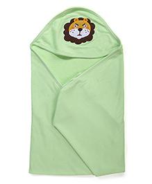 Babyhug Hooded Towel Elephant Embroidery - Green