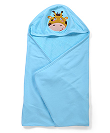 Babyhug Hooded Towel Elephant Embroidery - Blue