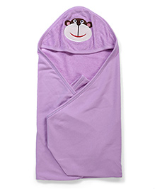 Babyhug Hooded Towel Elephant Embroidery - Purple