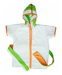 Kadambaby Short Sleeves Hooded Bathrobe - White & Green
