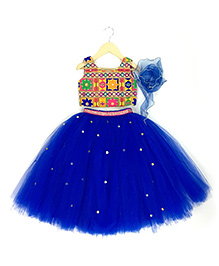 Mini Me Royal Tutu Ghaghra & Blouse Set - Royal Blue