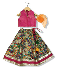 Mini Me Printed Ghaghra & Blouse Set - Rani Pink