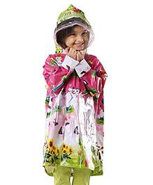 Babyhug Multi Printed Raincoat - Green & Pink