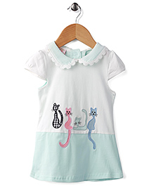 Peach Giirl Kitty Print Dress - White & Blue
