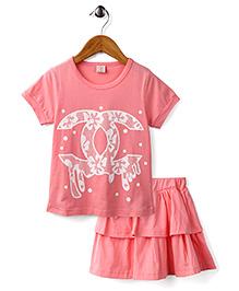 Peach Giirl Pretty Bow Top & Layered Skirt Set - Pink