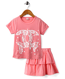 Peach Giirl Pretty Bow Top & Layered Skirt Set - Pink