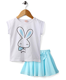 Peach Giirl Cute Bunny Skirt Set - Blue