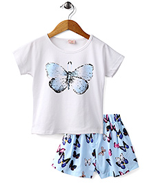 Peach Giirl Butterfly Skirt Set - White And Aqua
