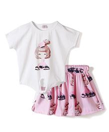Peach Giirl Pretty Colourful Skirt Set - Pink