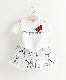 Peach Giirl Pretty Dainty Flying Butterfly Top And Skirt - White