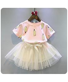 Peach Giirl Cute Net Bow Skirt Set - Cream And Peach