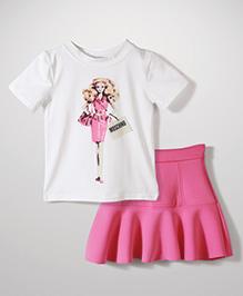 Peach Giirl Shopaholic Doll Skirt Set - Pink