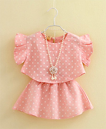 Peach Giirl Flutter Sleeves Dotted Top And Skirt With Necklace - Light Pink